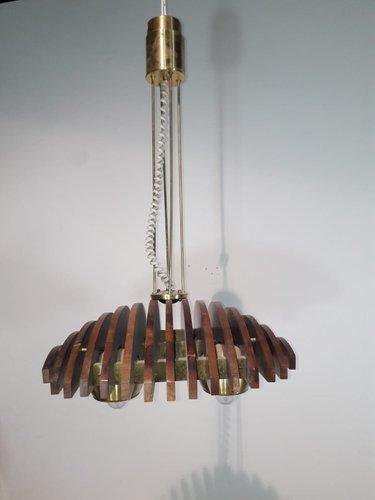 Deckenlampe aus Holz & Messing von Esperia, 1960er