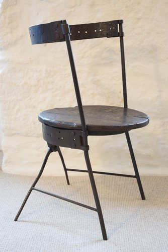 e09312db15158 Antique Victorian Wrought Iron   Oak Barrel Chair for sale at Pamono