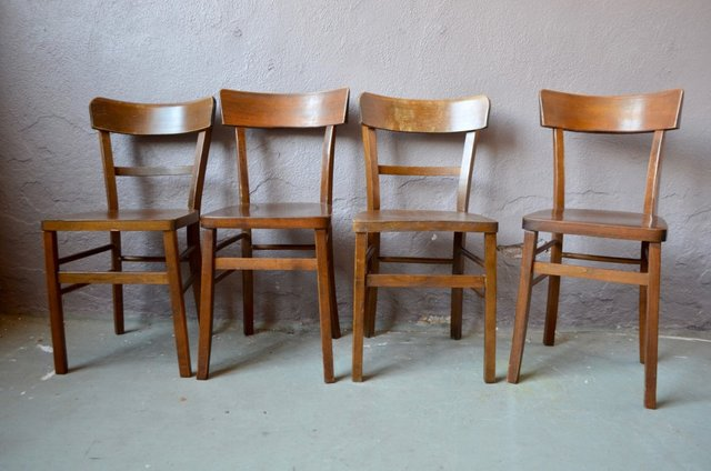 Mid Century French Brown Wood Dining Chairs 1960s Set Of 4 For