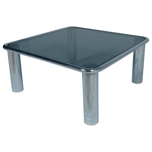 4db088f9b0ce6 Mid-Century Modern Smoked Glass   Chrome Coffee Table by Mario Bellini for  sale at Pamono