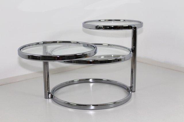 Glass Swivel Coffee Table.Chrome Glass Swivel 3 Tier Coffee Table 1970s