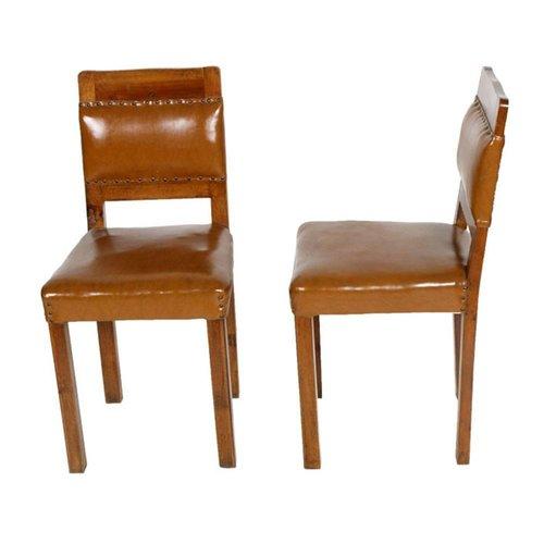 Art Deco Walnut \u0026 Leather Side Chairs, 1920s, Set of 2