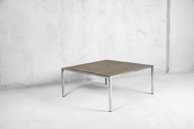 Brutalist Metal Coffee Table With Stone Top 1960s For Sale At Pamono