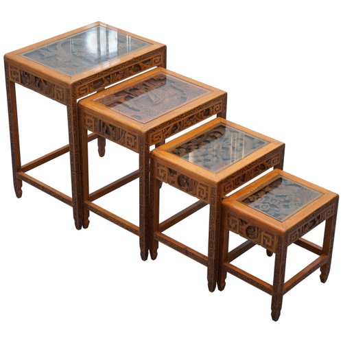 Superieur Antique Chinese Carved Nesting Tables