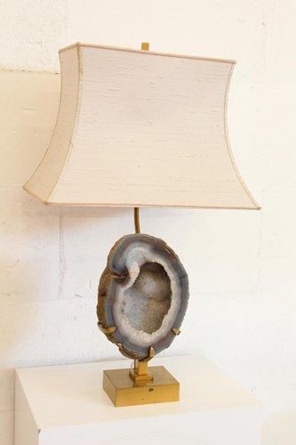 Vintage Lampe aus Messing & Achat von Willy Daro