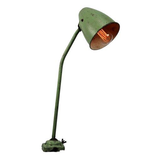 Lampada Da Tavolo Vintage Da Lavoro In Metallo Verde In Vendita Su Pamono