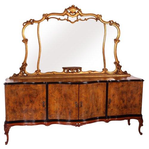 Burl Walnut Mirrored Sideboard, Small Venetian Mirrored Sideboard
