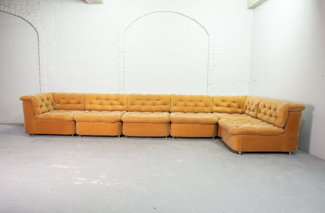 Wondrous Modular Peach Velvet Sofa Set From Dreipunkt 1970S Short Links Chair Design For Home Short Linksinfo