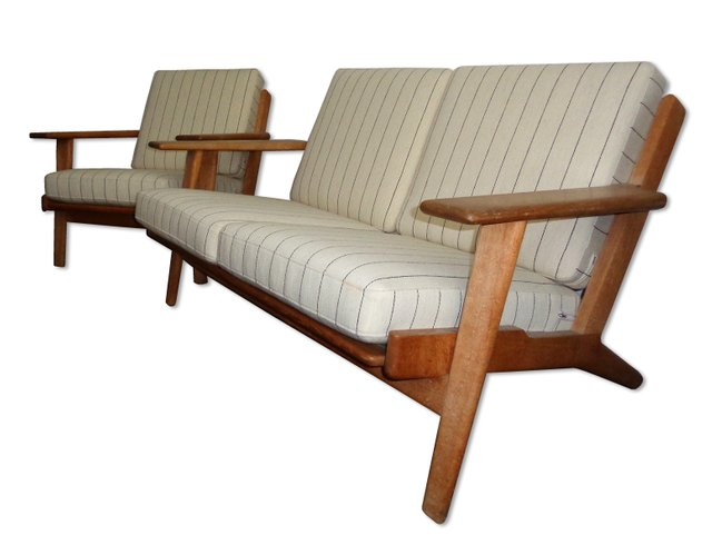 Ge 290 Two Seater Sofa Easy Chair Set By Hans J Wegner For