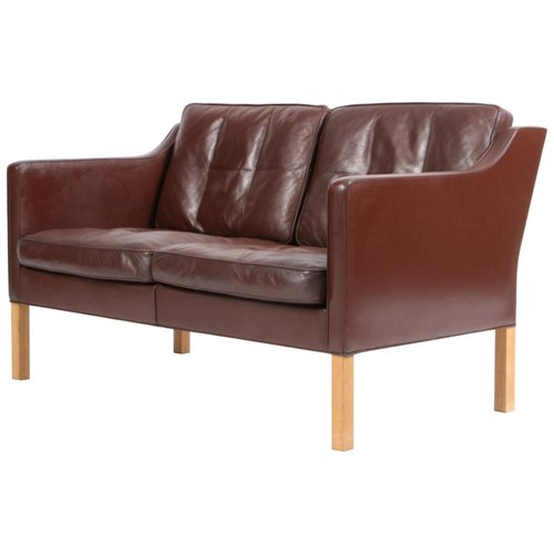 Brown Leather Oak 2 Seater Sofa By Børge Mogensen For Fredericia 1960s