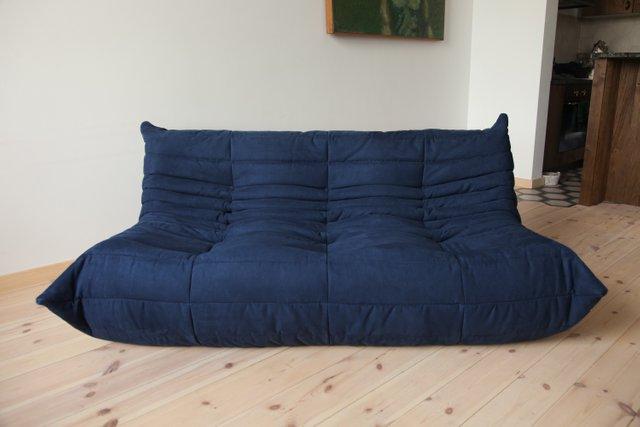 Blue Microfiber 3-Seater Togo Sofa by Michel Ducaroy for Ligne Roset, 1970s