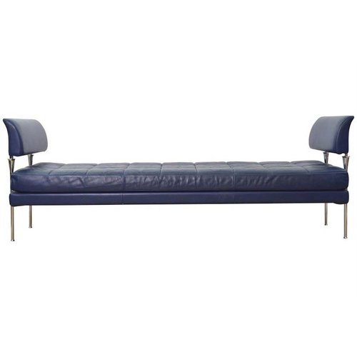 Hydra Model Dark Blue Leather and Chromed Steel Bench by Poltrona ...