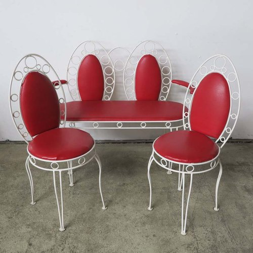 Sensational Vintage Metal Bench Set With Two Chairs Gmtry Best Dining Table And Chair Ideas Images Gmtryco
