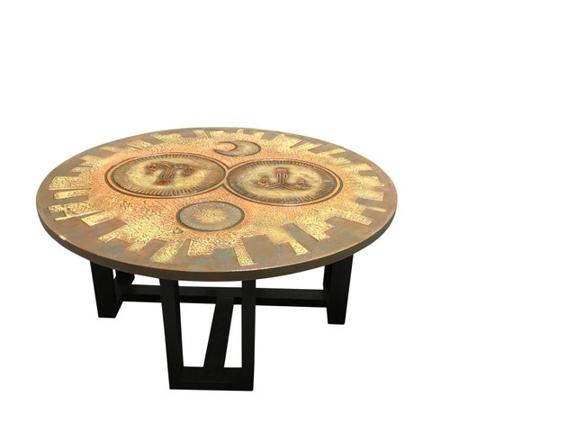 Mid Century Carved Wooden Coffee Table 1960s For Sale At Pamono