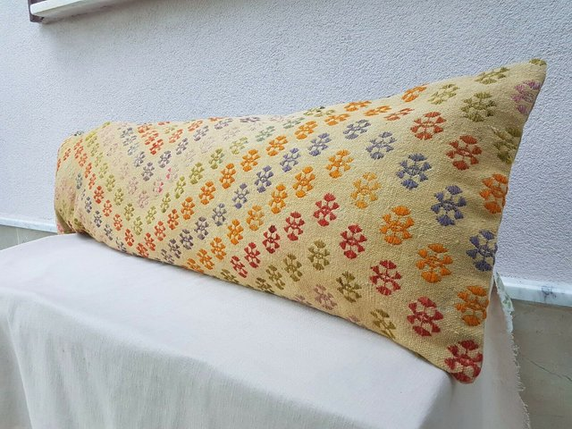 Long Bolster Kilim Pillow Cover from