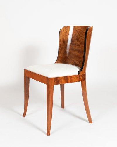 Burl Mahogany & White Fabric Dining Chairs, 1930s, Set of 4