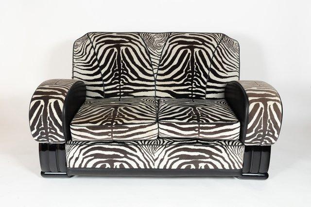 Sofa With Zebra Print Fabric, 1930s For Sale At Pamono
