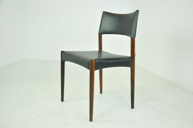 Scandinavian Rosewood Aniline Leather Dining Chairs By Ejnar