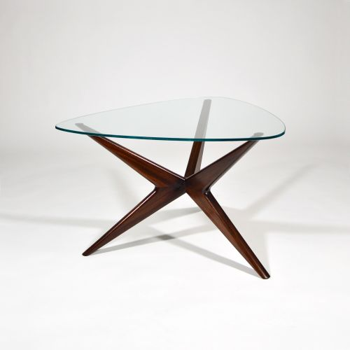 Mid Century Italian Gl And Mahogany Coffee Table 1950s