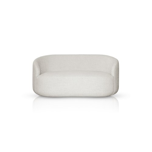 Curved White Fabric Cottonflower Sofa