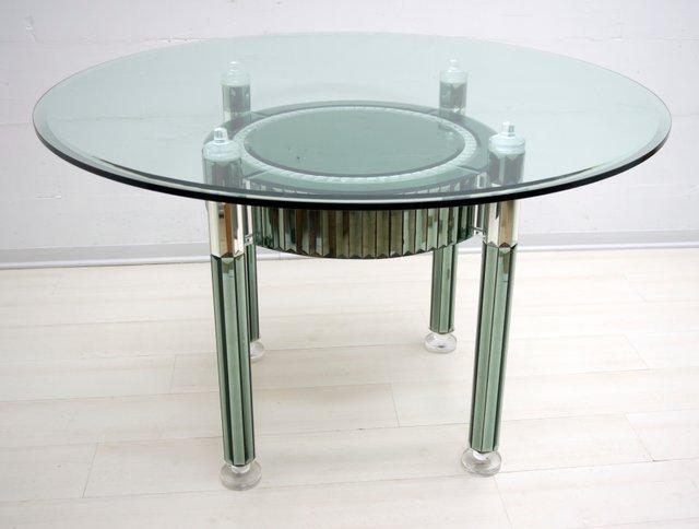 Tavoli Rotondi In Vetro Cristallo.Tavolo Da Pranzo Rotondo Moderno In Cristallo E Vetro Specchiato