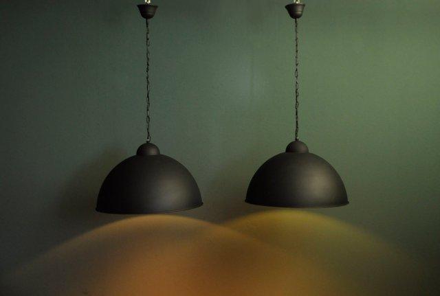 Black Metal Ceiling Lamps 1960s Set Of 2