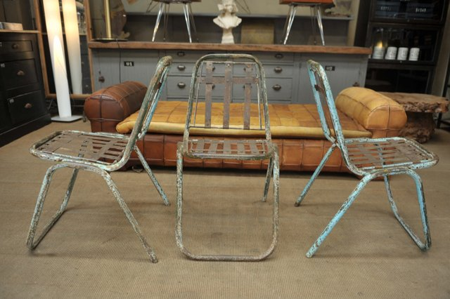 Industrial French Metal Stackable Garden Chairs 1930s Set Of 6 For