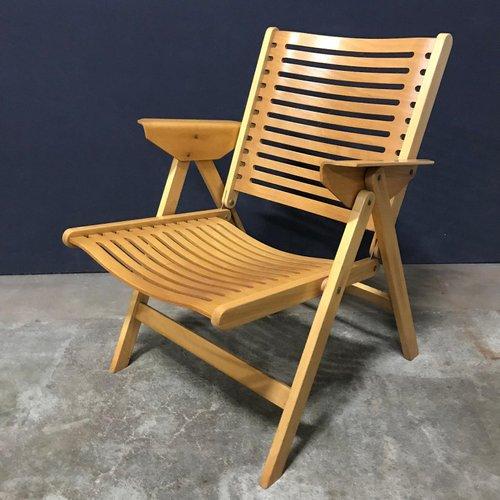 Vintage Wooden Folding Lounge Rex Chair By Niko Kralj 1970s