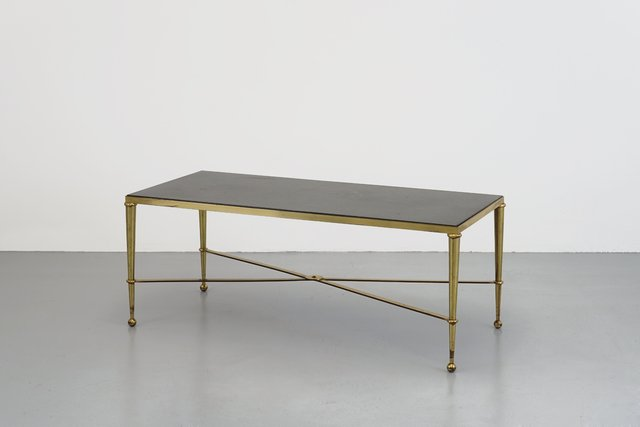 French Brass And Marble Coffee Table From Maison Jansen 1960s For