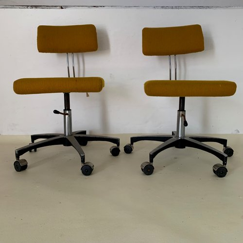 Mid Century Chrome Plated Desk Chairs Set Of 2 For Sale At Pamono