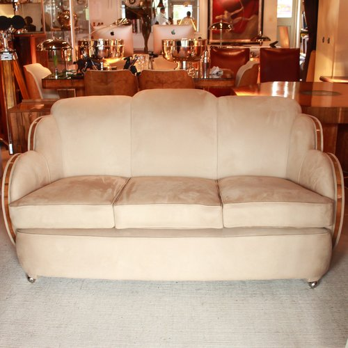 Surprising Art Deco Suede 3 Seater Sofa By Harry And Lou Epstein 1930S Pabps2019 Chair Design Images Pabps2019Com
