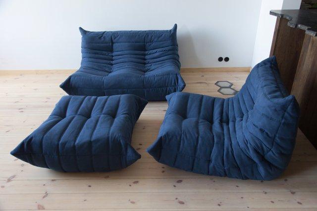 Vintage Navy Blue Microfiber Togo Living Room Set by Michel Ducaroy for  Ligne Roset, 1980s