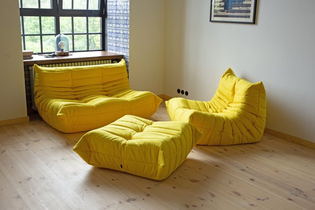 Cool Vintage Yellow Microfiber Togo Living Room Set By Michel Ducaroy For Ligne Roset 1970S Interior Design Ideas Tzicisoteloinfo