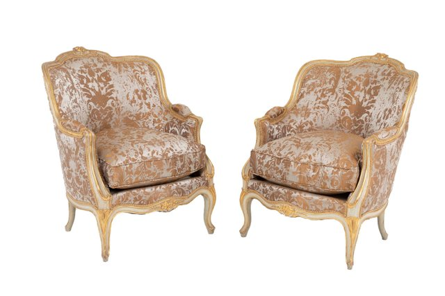 Sensational Louis Xv Style Off White Lacquer And Gilt Lounge Chairs 1950S Set Of 2 Unemploymentrelief Wooden Chair Designs For Living Room Unemploymentrelieforg