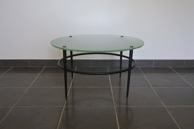 Glass Coffee Table Images.Mid Century Brass Lacquered Metal And Glass Coffee Table By Le Bihan 1950s