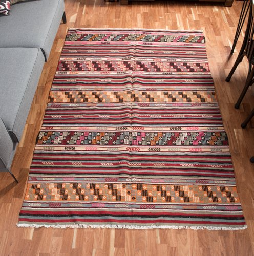 Turkish Wool Cicim Embroidered Rug