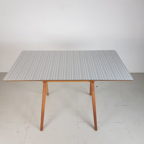 Grey Striped Formica U0026 Beech Dining Table From Kandya, 1960s