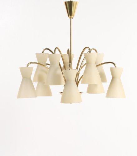 Mid Century Danish Brass And Glass Chandelier From Fog U0026 Mørup, 1950s