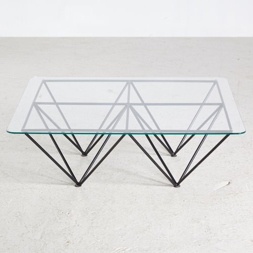 Vintage Glass Coffee Table With Geometric Base 1970s For Sale At