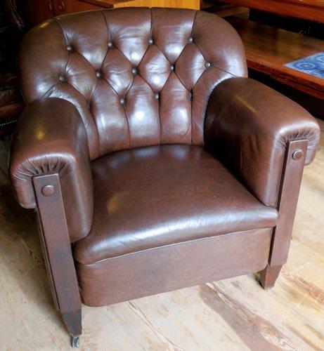 Dark Brown Leather Club Chair, 1920s