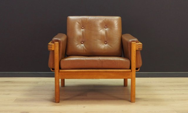 Vintage Scandinavian Leather Armchair By H. W. Klein For Jørgensens  Møbelfabrik, 1970s