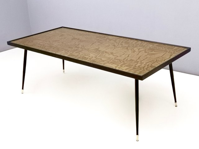 Fabulous Italian Etched Brass Coffee Table By G Urs 1950S Interior Design Ideas Philsoteloinfo