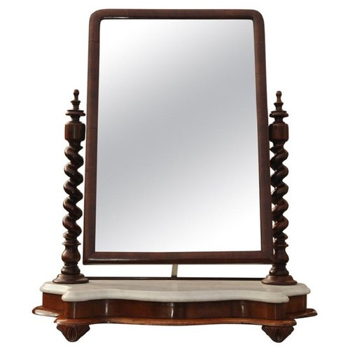Antique English Marble Mahogany Vanity Mirror For Sale At Pamono