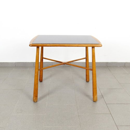 Mid Century Glass Wood Coffee Table For Sale At Pamono