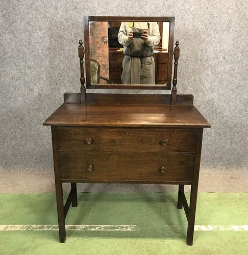 Vintage English Oak Dressing Table For, Oak Dressing Table With Fold Down Mirror