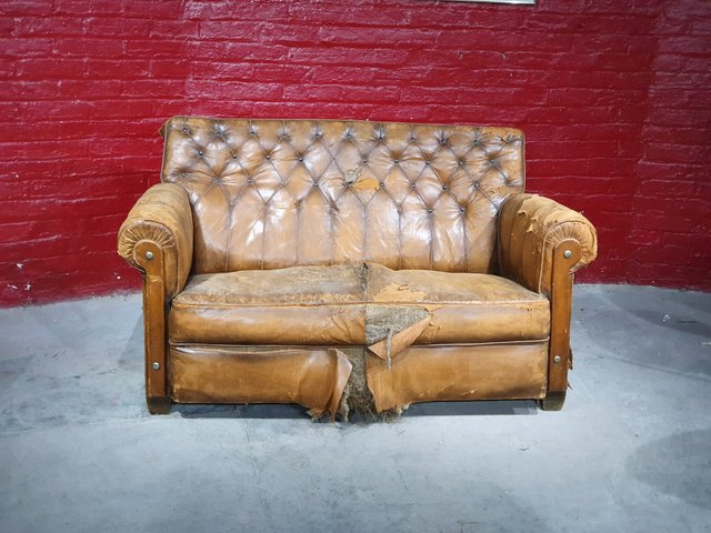 Brown Leather 2 Seater Sofa 1920s