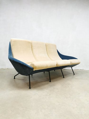 Vintage Ice Blue Velvet Sofa, 1950s