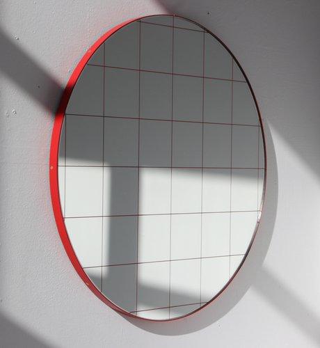 Large Red Orbis Round Mirror With Grid, Red Round Mirror
