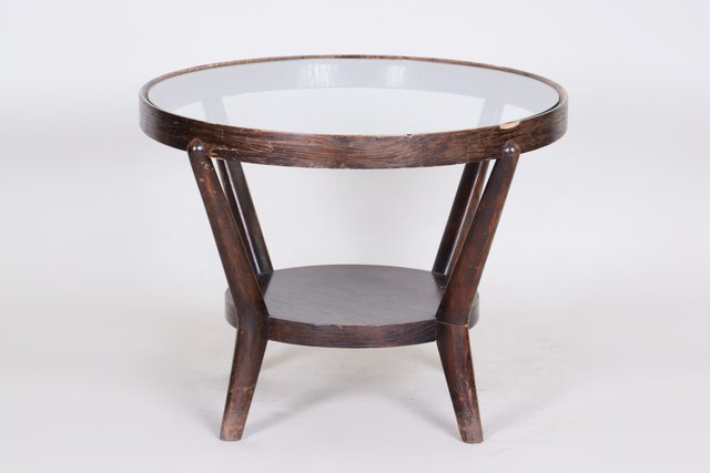 Oak Glass Coffee Table By Kozelka Kropacek 1940s For Sale At