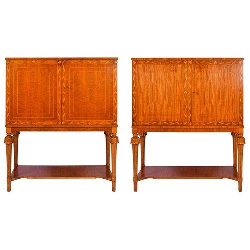 Swedish Modern Mahogany Cabinets, 1940s, Set of 2